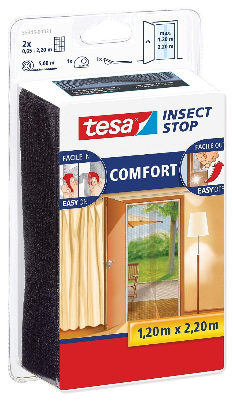 Malla mosquitera para puertas tesa Insect Stop Comfort (2 telas de 0.65 cm x 2.2 m), color negro 55345-00021-00