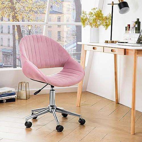 OVIOS Cute Desk Chair,Plush Velvet Office Chair for Home or Office,Modern,Comfortble,Nice Task Chair for Computer Desk. Polish Steel-Pink