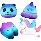 Hirsrian Squishies toys, 4 pcs Galaxy Squishiy Jumbo Slow Rising Toy Stress Reliever Squeeze Soft Toys For Kids and Adults(Unicorn, Panda, Poop, Teeth)