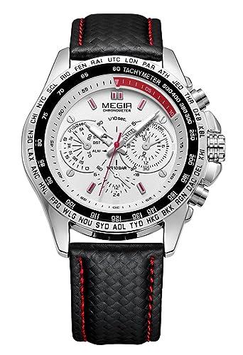 MEGIR - Reloj para Hombre de Quartz Cuarzo de Piel Esfera Grande Reloj Vintage de Moda - Plateado: Amazon.es: Relojes