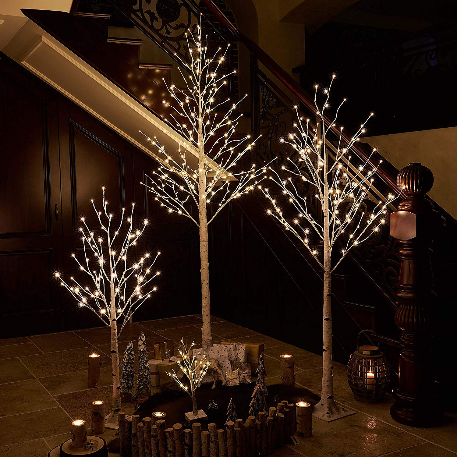 Prelit White Birch Tree with LED Lights 6FT 128L for Christmas Holiday Party Decorations Tree Plug in Indoor Outdoor Use