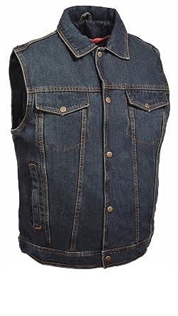 2cc27df972b136 Milwaukee Leather Men s Snap Front Denim Vest w Shirt Collar (Blue ...