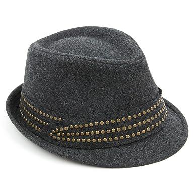 e3d562961e1 Ladies trilby hat grey melton wool studded band womens Hawkins quality -  57  Amazon.co.uk  Clothing