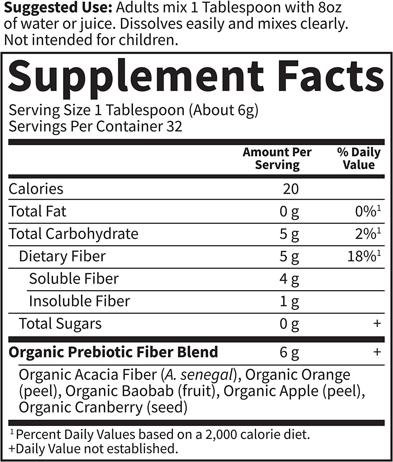 Garden of Life Dr. Formulated Organic Fiber Supplement - Unflavored, 32 Servings, Organic Prebiotic Fiber Supplement, Psyllium Free, Vegan Superfood Fiber Powder, Constipation Relief, Hunger Control: Health & Personal Care