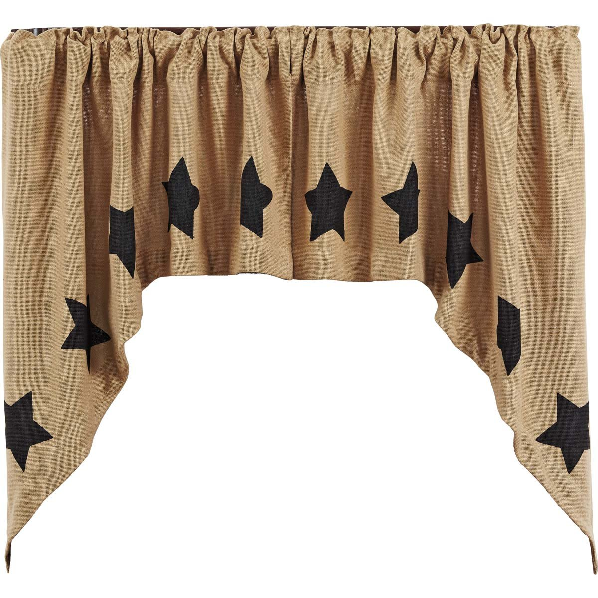 VHC Brands Burlap Natural Swag Black Stencil Stars Set of 2-36x36x16