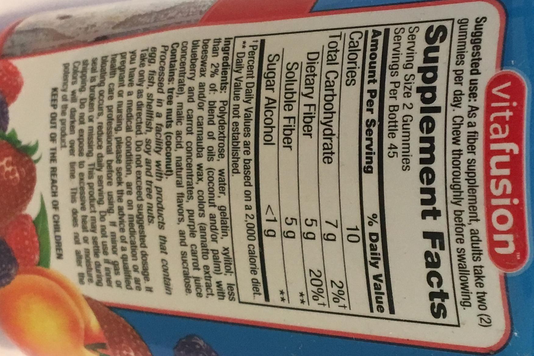 Vitafusion Sugar-Free Fiber Well Gummies Peach, Strawberry, Blackberry , 90 CT (Pack of 3)