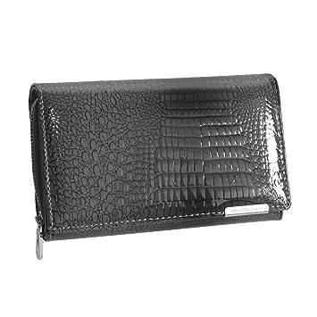 9552bee8a5452 Damengeldbörse von Jennifer Jones - Lang Format feine Leder croco-snake  Optik Damengeldbeutel Portemonnaie Damenbörse