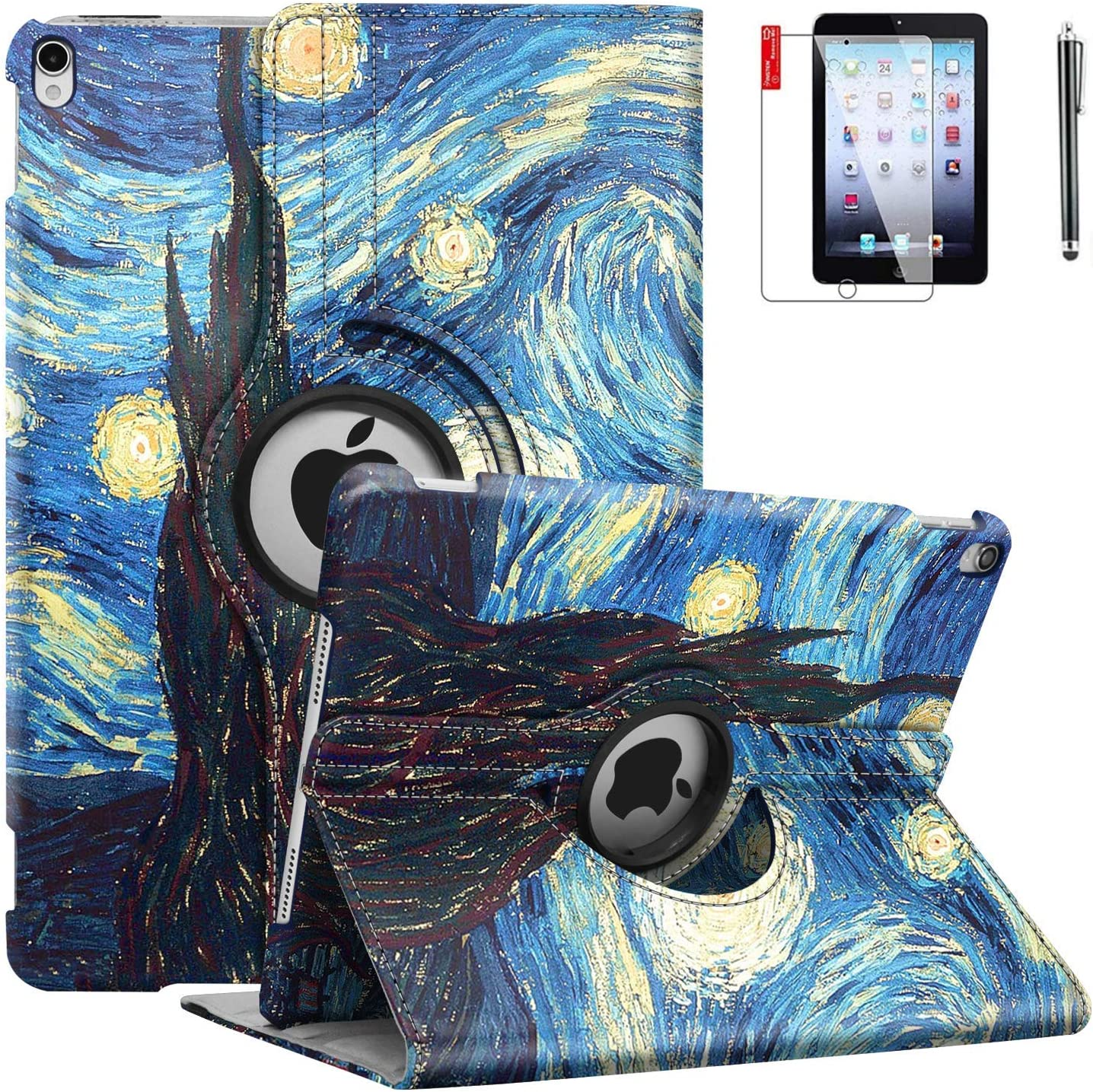 iPad 9.7 inch 2018 2017 Air1 Case - iPad 5th 6th Generation Case - 360 Degree Rotating Stand, Auto Sleep Wake, Shockproof -A1822 A1823 A1474 A1475 (Starry Night)