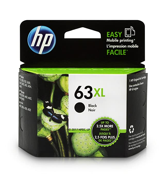 HP 63XL Black Ink Cartridge (F6U64AN) for HP Deskjet 1112 2130 2132 3630 3632 3633 3634 3636 3637 HP ENVY 4512 4513 4520 4523 4524 HP Officejet 3830 3831 3833 4650 4652 4654 4655