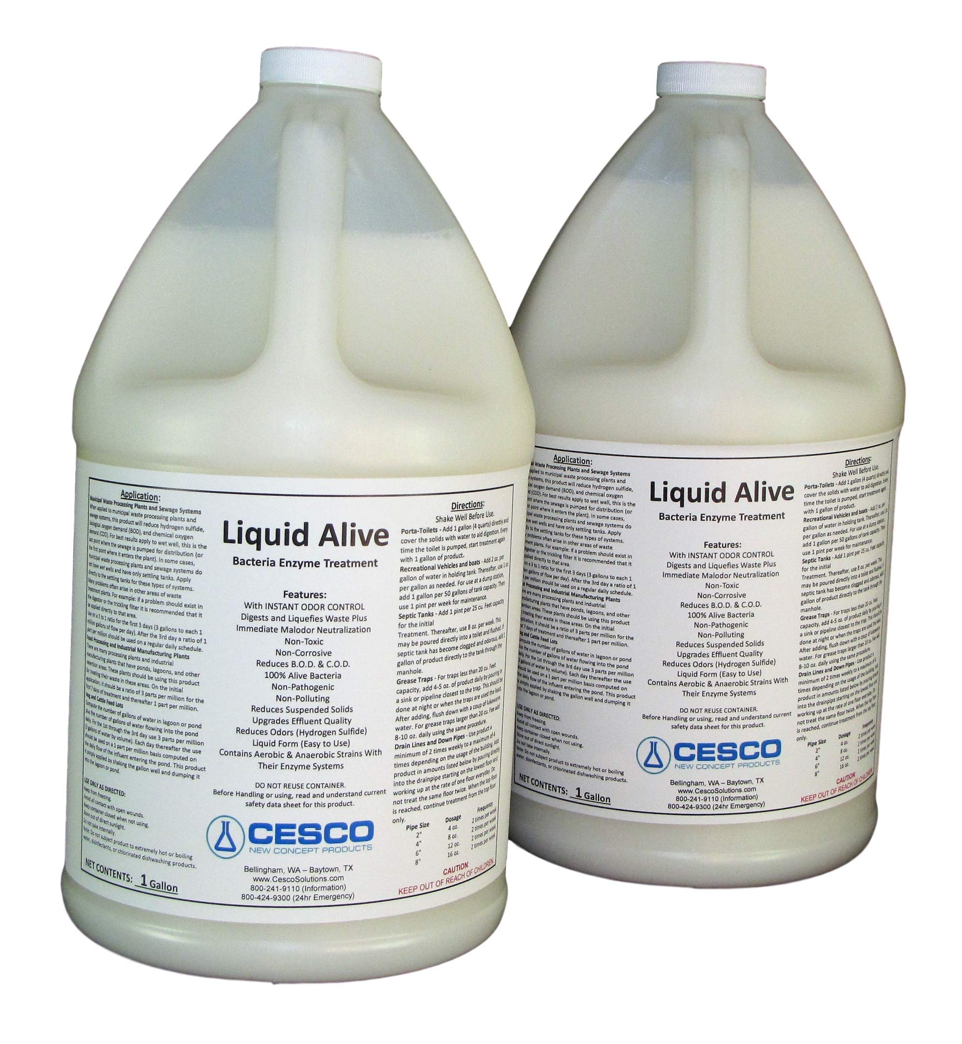 Liquid Alive Bacteria Enzyme Treatment - for Septic RV Boat - Odor Digester - 2 gallons