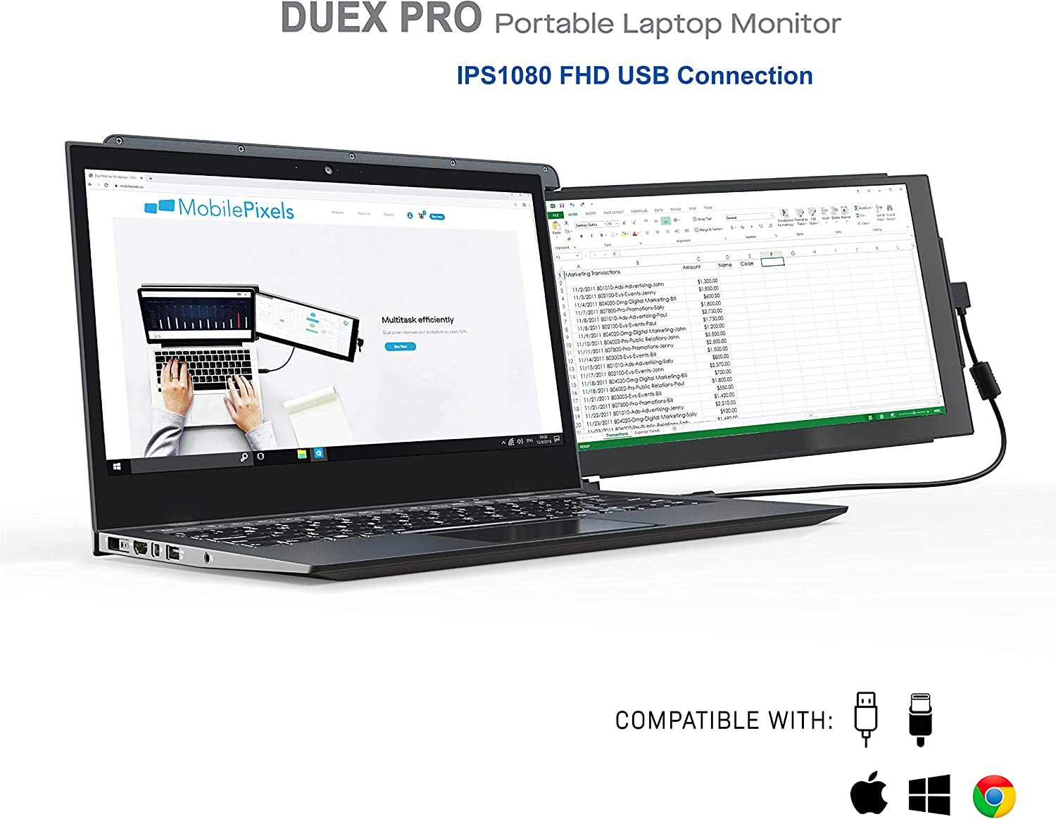 Increible Doble Monitor para su Laptop 12.5p Full HD USB-C