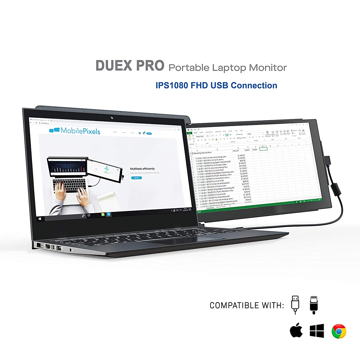 """Mobile Pixels Duex Pro Portable Monitor for Laptops 12.5"""" Full HD IPS USB A/Type-C USB The On-The-Go Dual-Screen Monitor"""