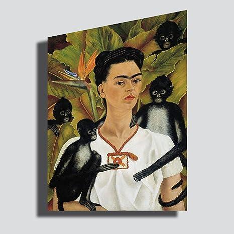 Quadro Frida Kahlo Autoritratto con scimmie - RIPRODUZIONE STAMPA SU ...