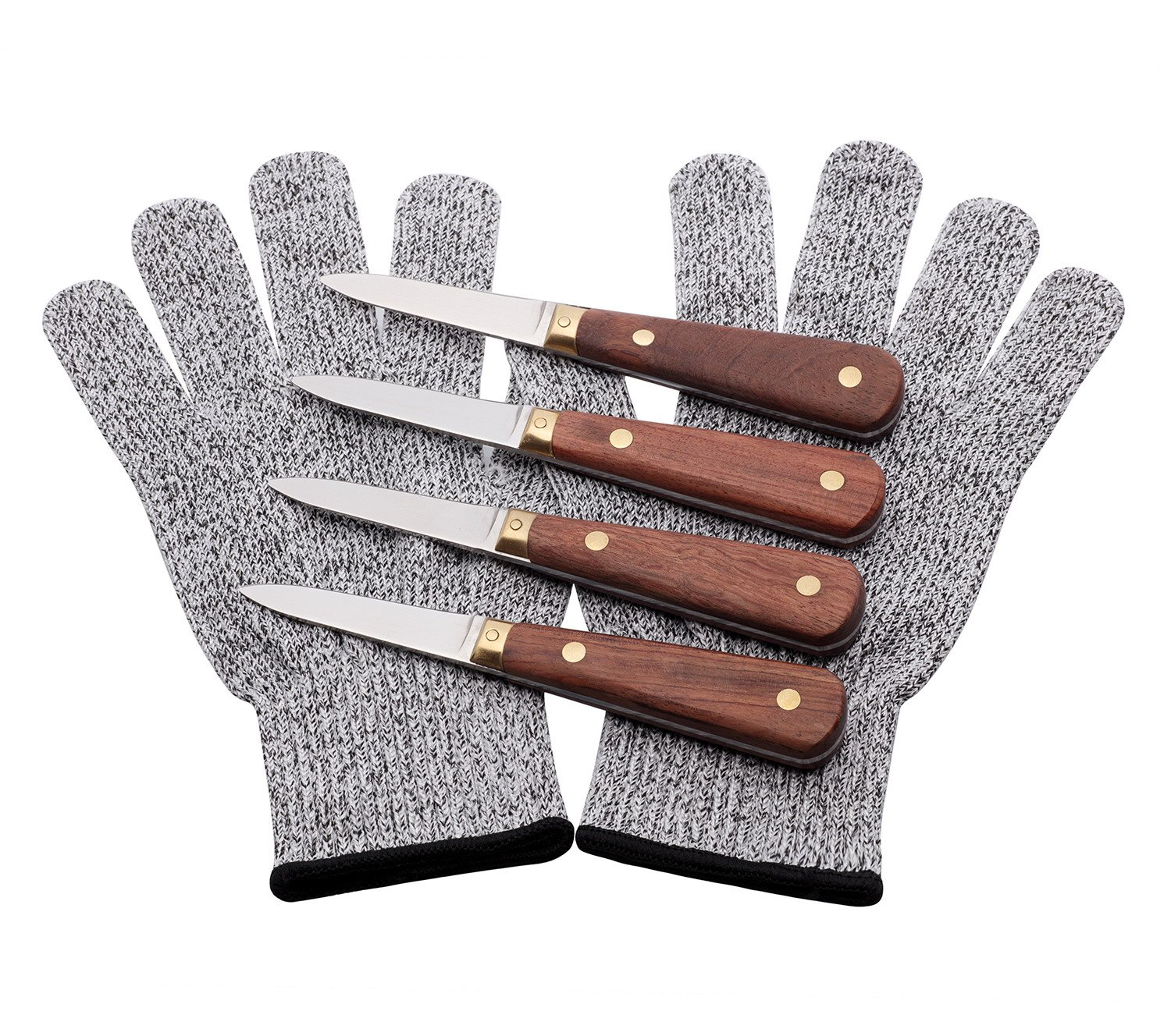 Oyster Knife Shucker Stainless Steel 4 pcs SET with Gloves