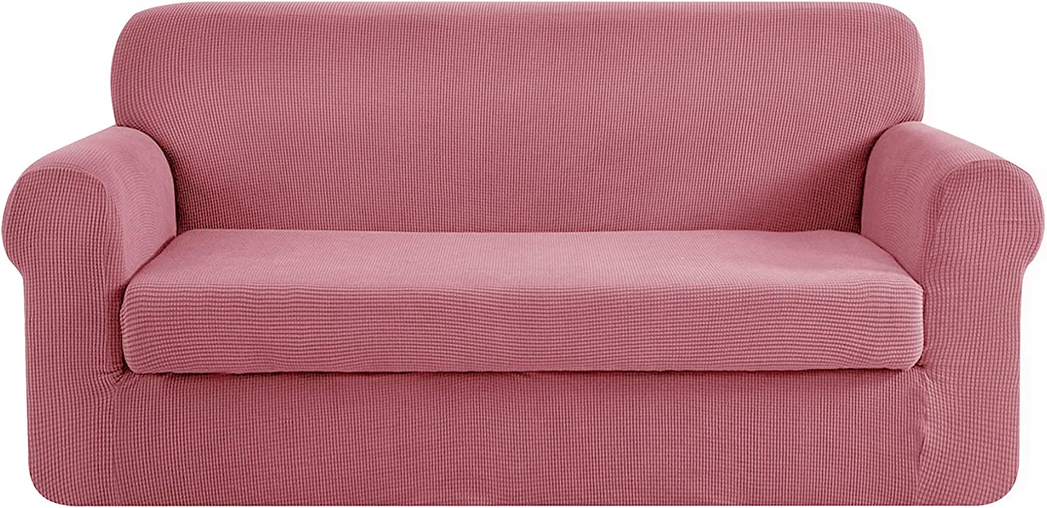 CHUN YI Stretch Sofa Slipcover 2-Piece Couch Cover Furniture Protector, Settee Coat Soft with Elastic Bottom, Checks Spandex Jacquard Fabric, Large, Coral Pink
