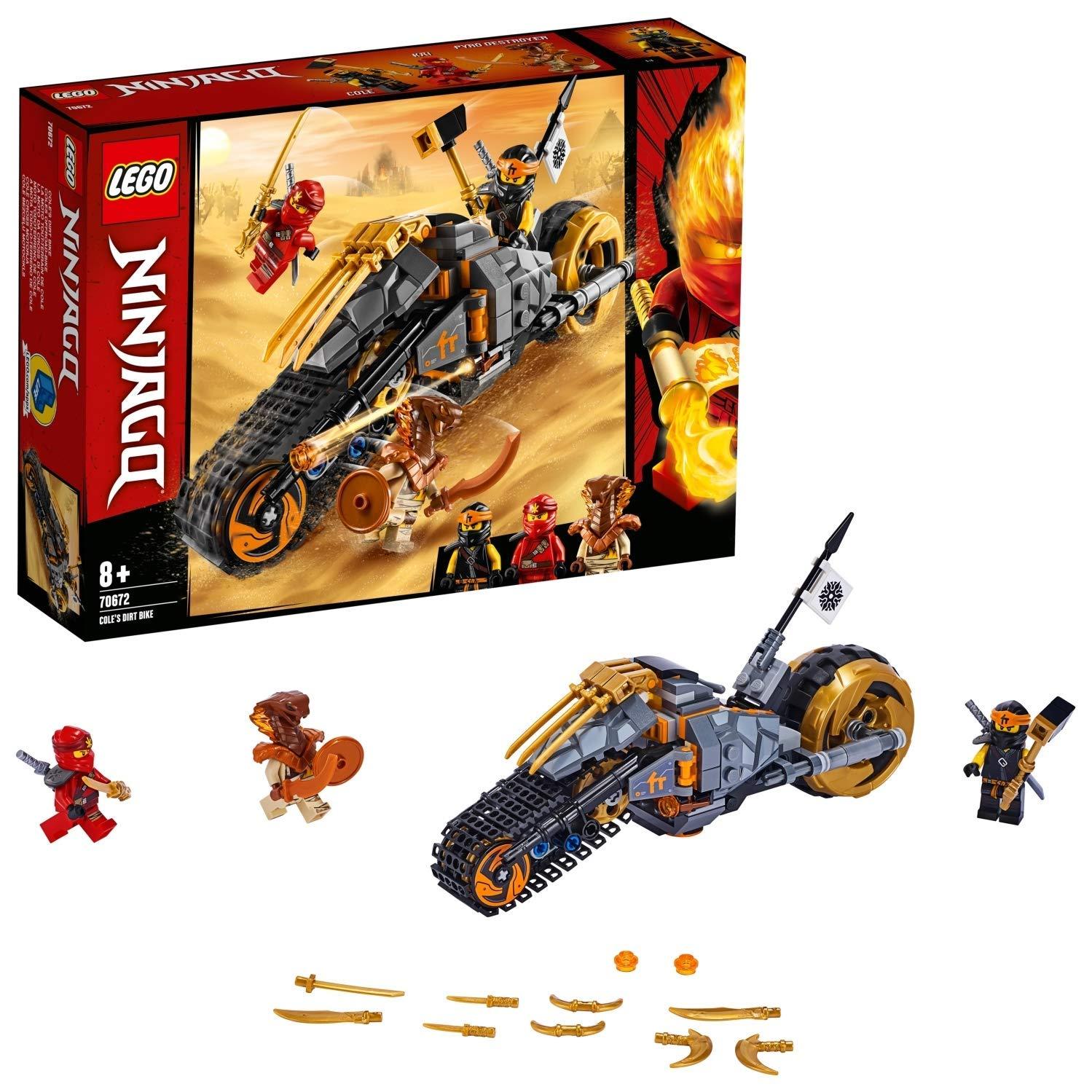 LEGO Ninjago - Moto Todoterreno de Cole Motocicleta Ninja de Juguete con Rueda de Oruga, incluye dos Minifiguras de Ninjas, Novedad 2019 (70672)