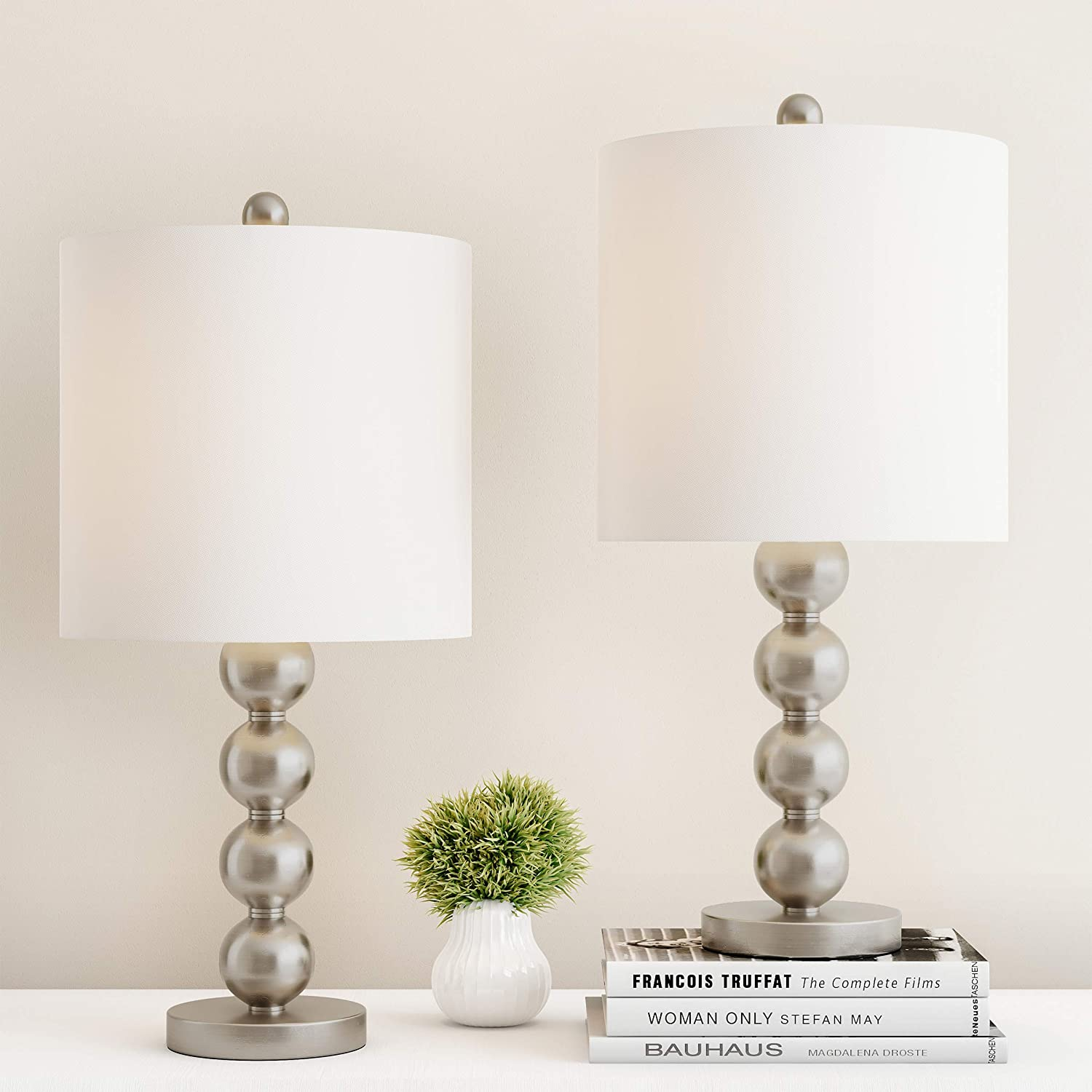 Lavish Home Table Lamps – Set of 2 Matching Modern Stacked Balls Lighting Energy-Efficient LED Bulbs Included