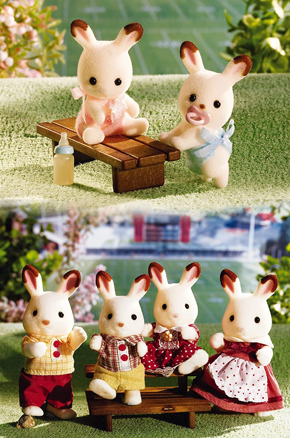 Calico Critters Hopscotch Rabbit Family and Baby Twins 6 Figures