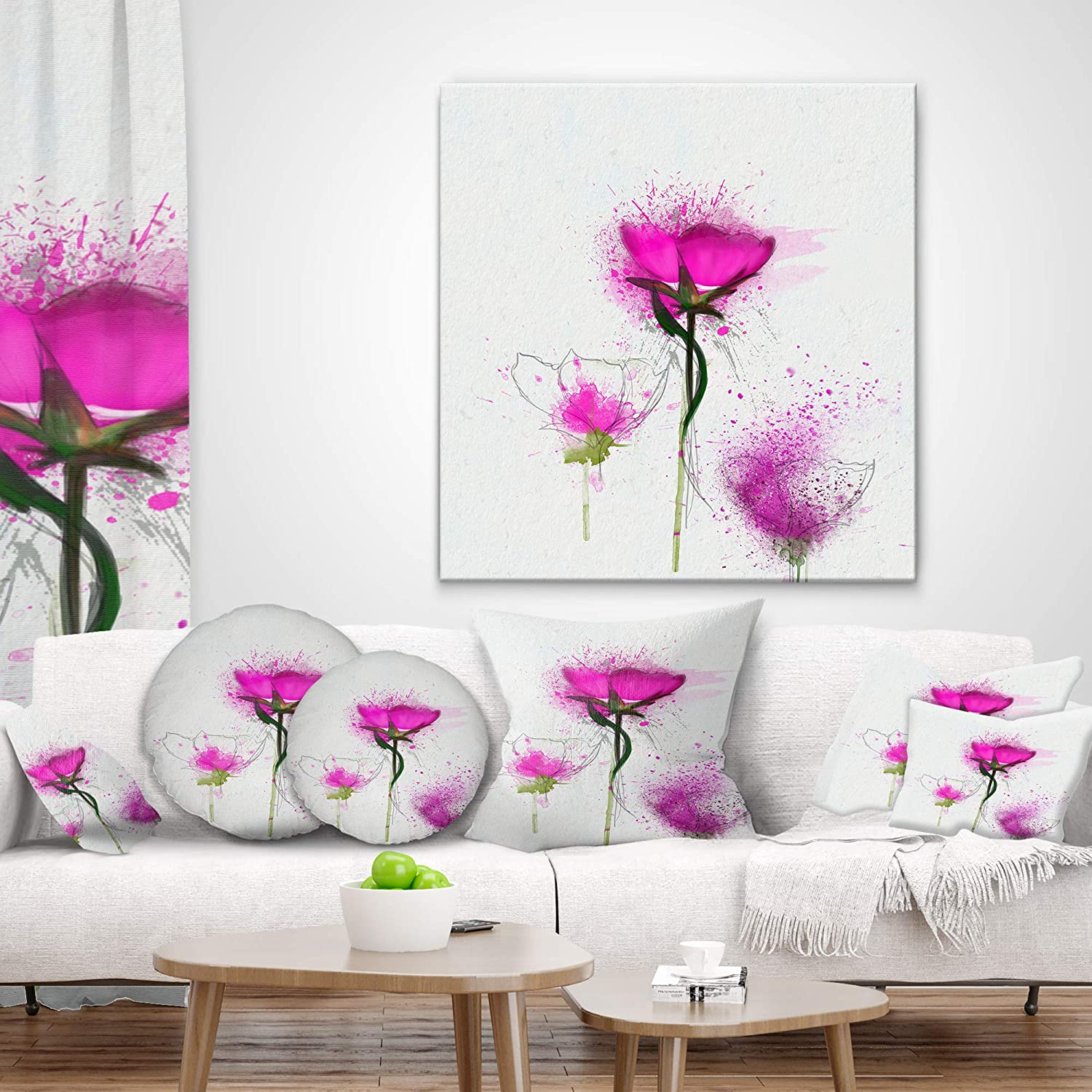 in Designart CU13723-12-20 Watercolor Purple Daisy Flowers Floral Lumbar Cushion Cover for Living Room x 20 in Insert Printed On Both Side Sofa Throw Pillow 12 in