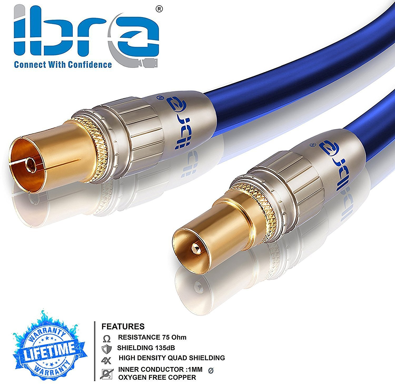 cable coaxial 7,5m cable de antena HQ HDTV Premium // factor de blindaje 135 dB // resistencia: 75 ohmios clavija IEC macho en conector IEC hembra coax HDTV // Full HD | carcasa met/álica // contactos do clavija coaxial macho en acoplamiento coax