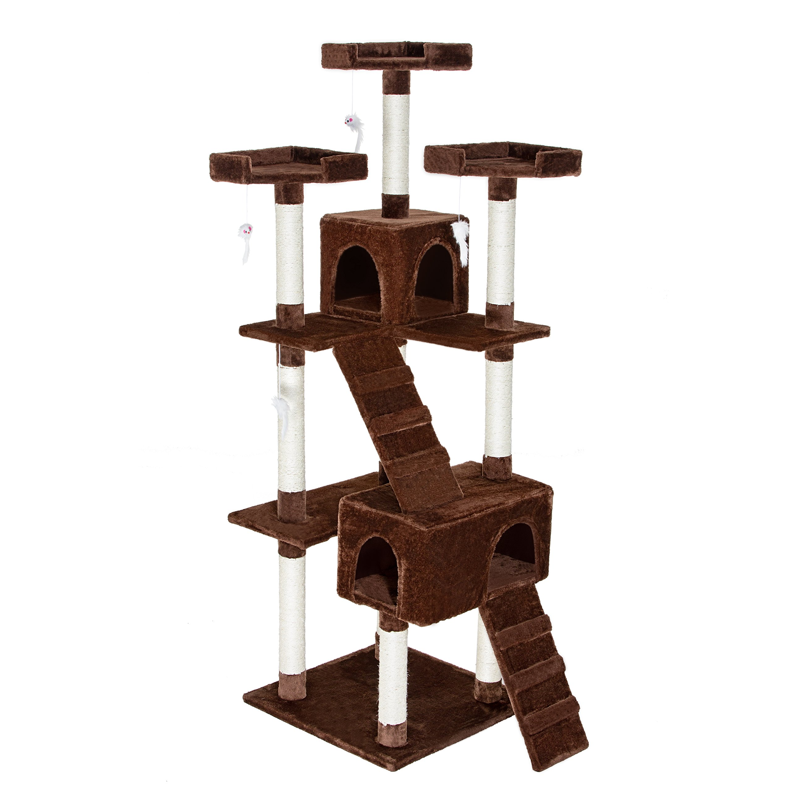 Mr Cute Cat Tower Play Stairs Scratcher Post House Condo Cat Tree Furniture with Kitty IQ-toy Brown 72-inch (33''Lx24''Wx72''H, Brown)