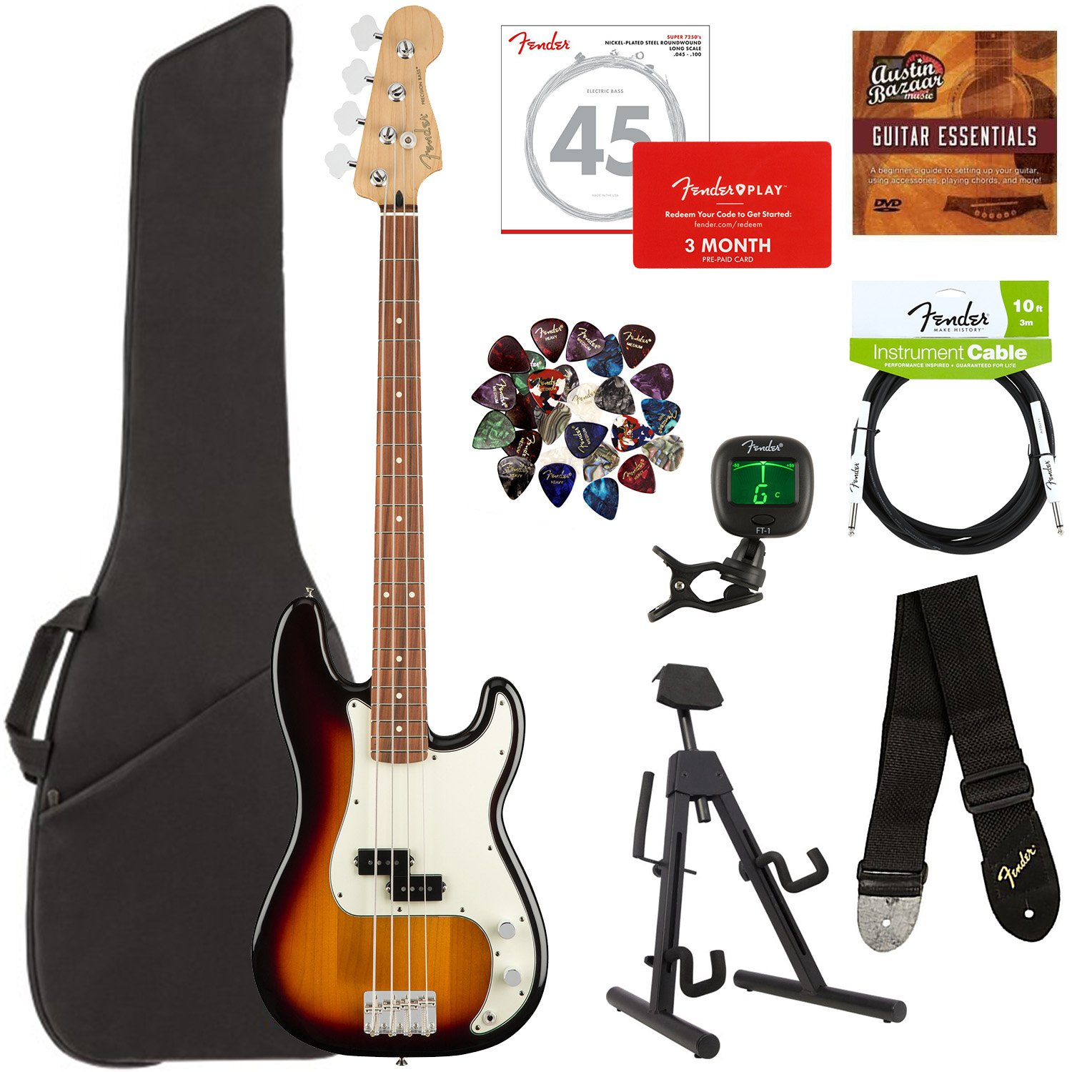 Fender Player Precision Bass, Pau Ferro - 3-Color Sunburst Bundle with Gig Bag, Stand, Cable, Tuner, Strap, Strings, Picks, Fender Play Online Lessons, and Austin Bazaar Instructional DVD
