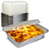 [50 Pack] Rectangular Disposable Aluminum Foil Pan Take Out Food Containers with Clear Plastic Dome Lids, Steam Table…