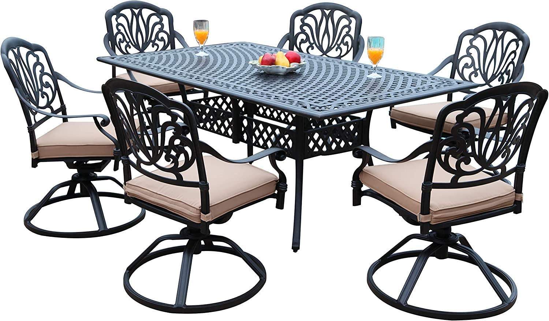 GrandPatioFurniture.com CBM Patio Elisabeth Collection Cast Aluminum 7 Piece Dining Set with A Rectangle Table 6 Swivel Rockers SH226-6S cbm1290