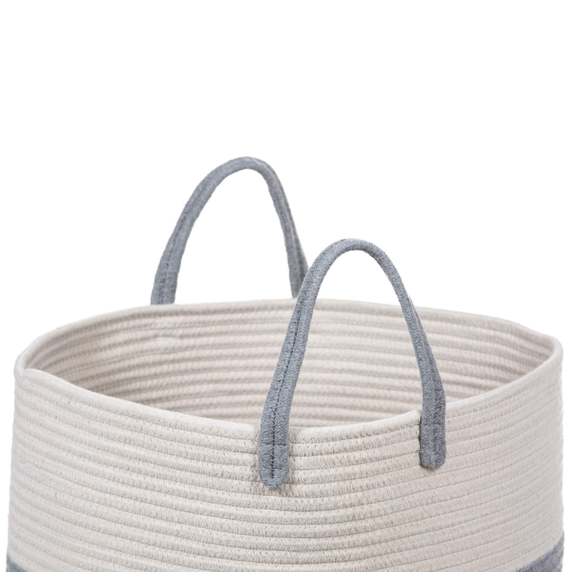 Extra Large Cotton Rope Basket 17 x 14.7 with Handles, for Baby Laundry Basket Woven Blanket Basket Nursery Bin by YOONLIVING (Image #3)