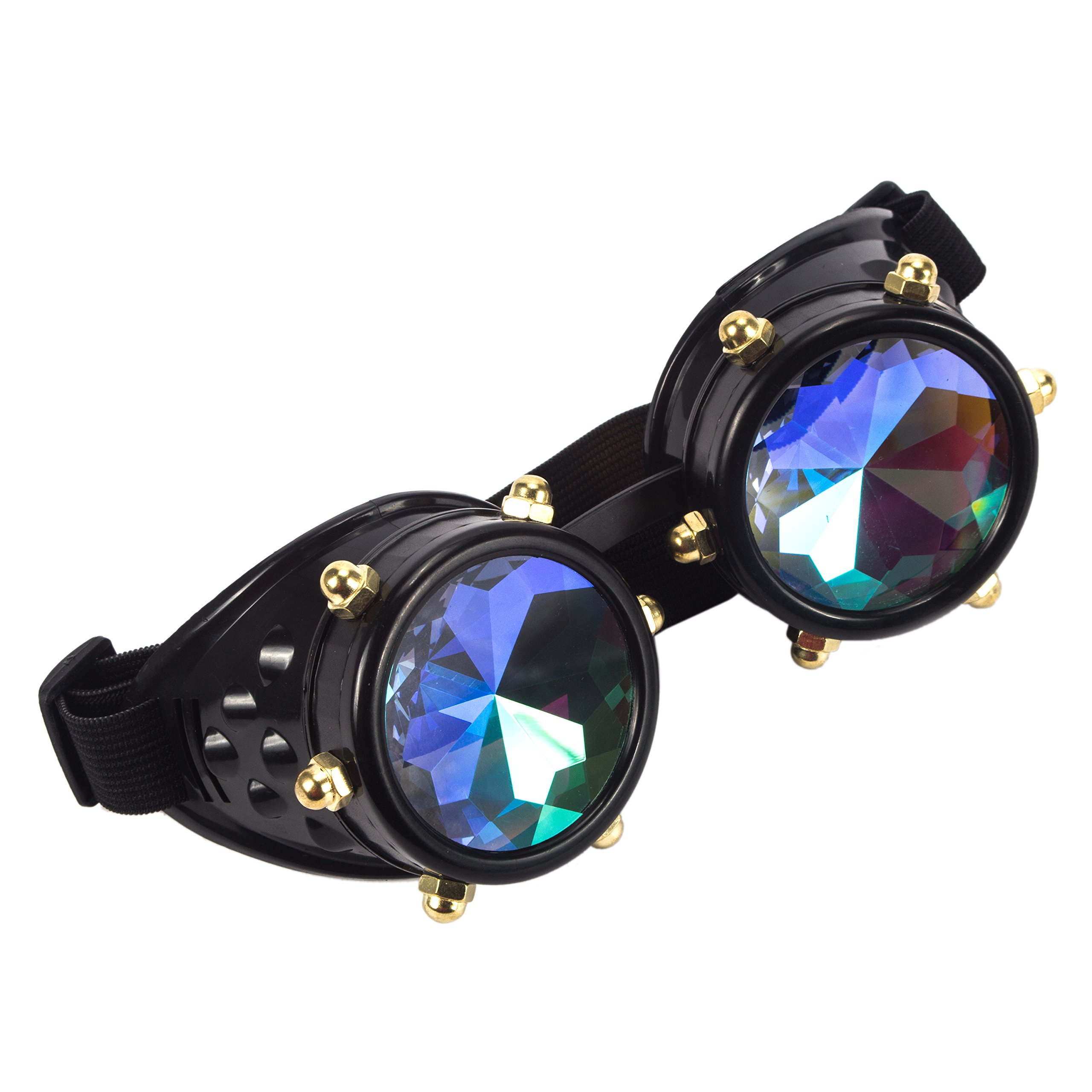 Amazon, Kaleidoscope Rave Goggles Steampunk Glasses with Rainbow Crystal Glass Lens (One Size-Adjustable head band, Black-New Style)