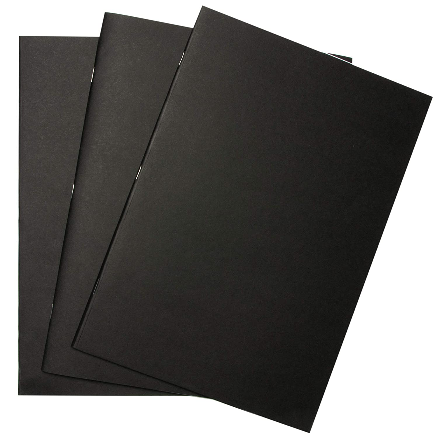 Sketchbooks Pack of 3 - A5, Black Soft Cover Starter Sketch Book and White 165 GSM Cartridge Paper Sketch Pad with Sizes A3 and A4 for Mixed Media Use