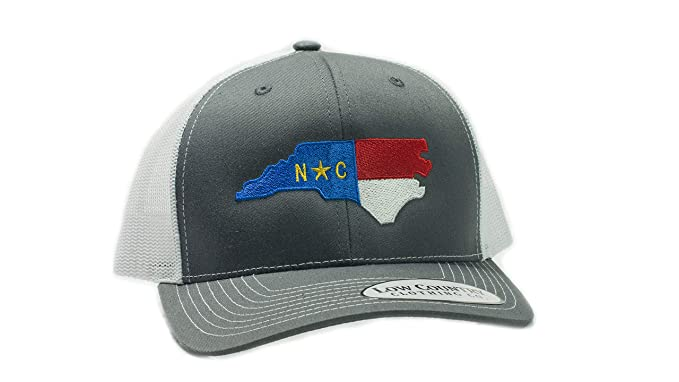 d4a89629 Low Country Clothing Company Official North Carolina State Flag Adjustable  Hat - Embroidered on Richardson 112 Trucker Hat (Charcoal) at Amazon Men's  ...