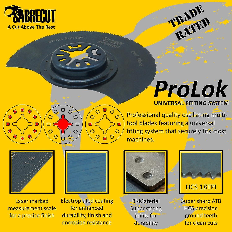 Makita Milwaukee Einhell Hitachi Parkside Ryobi Worx Multi-herramienta Workzone Multi herramienta accesorios No-StarLock 3 x 87mm SabreCut PR90F/_3 cuchillas multiherramienta para Bosch Fein