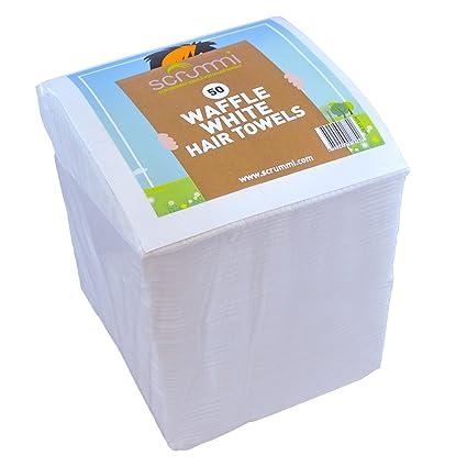 scrummi Waffle blanco toallas de peluquería de x 50