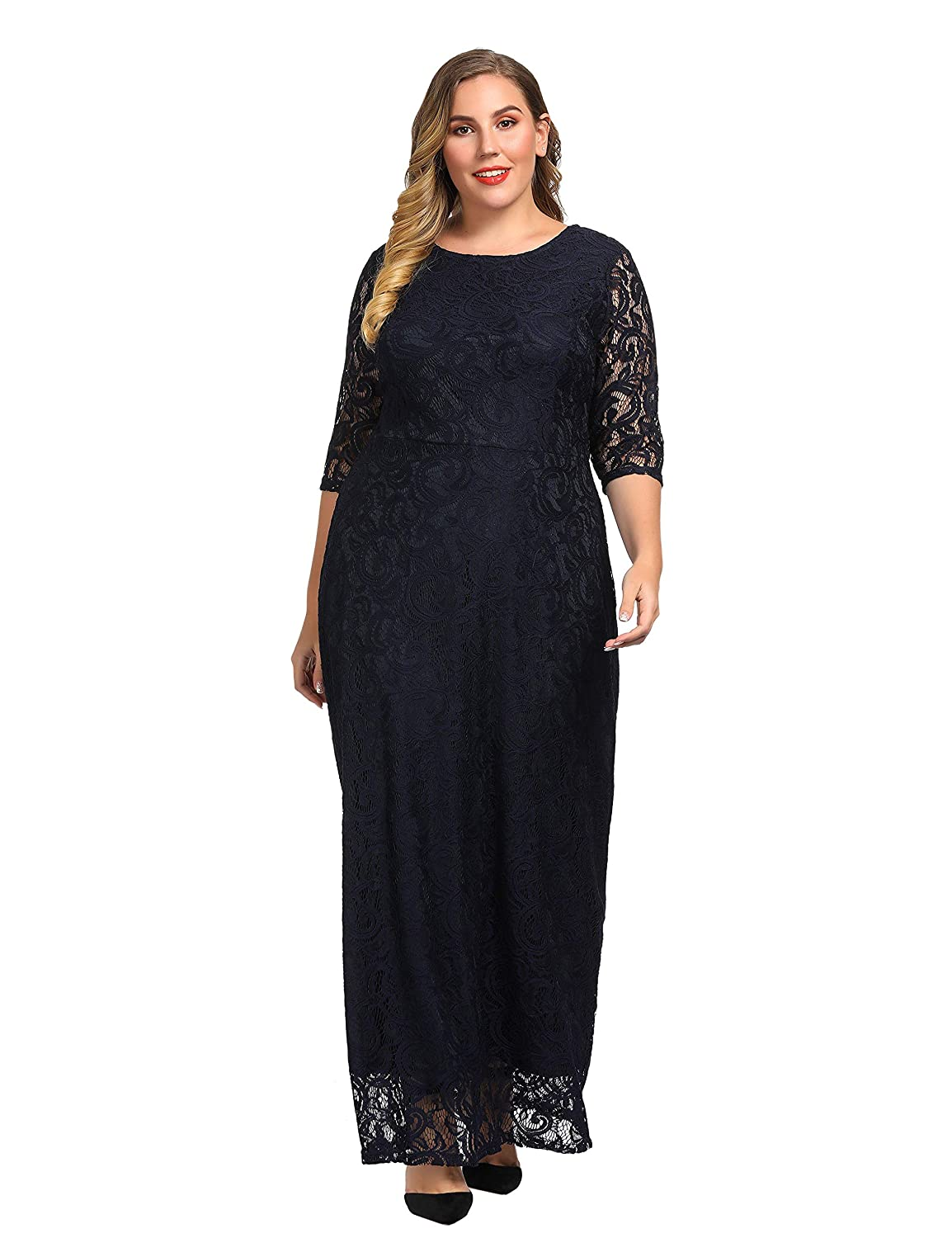 Chicwe Women s Plus Size Stretch Lace Maxi Dress - Evening Wedding Cocktail  Party Dress at Amazon Women s Clothing store  b35b5723b