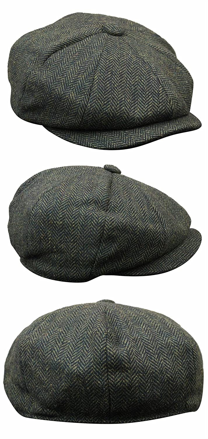 495ff1d25f7 Mens Tweed Newsboy Cap Peaky Blinders Baker Boy Flat Check Grandad Hat   Amazon.co.uk  Clothing