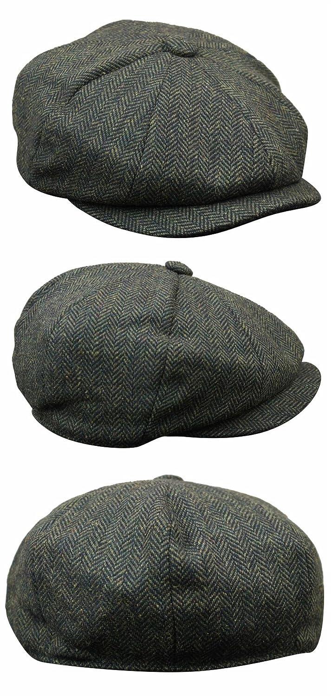 0adf723455c Mens Tweed Newsboy Cap Peaky Blinders Baker Boy Flat Check Grandad Hat   Amazon.co.uk  Clothing