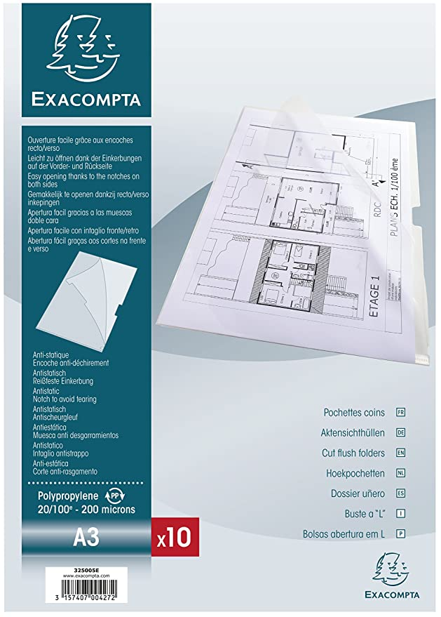 Amazon.com : Exacompta A4 Rigid PP Cut Flush Folder, Clear ...