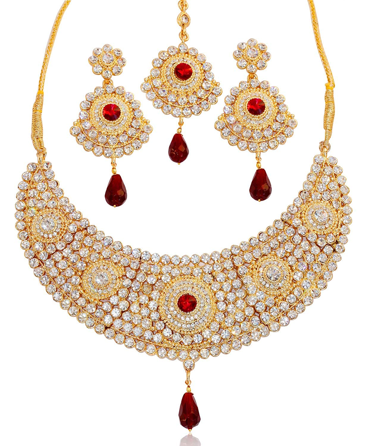 Indian Bollywood Gold Plated Ruby Kundan Stone Necklace Earring Wedding Jewlery In Short Supply Fashion Jewelry