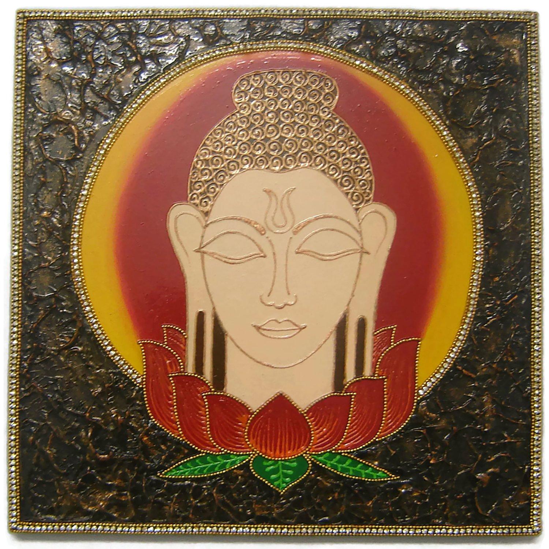 Buddha Wall Painting - Wall Decoration for Meditation or Yoga Room - Gautama Buddha - Amitabha Buddha - Posturing in Meditation - Entirely Handmade and Hand Painting in India - Intricate Claywork