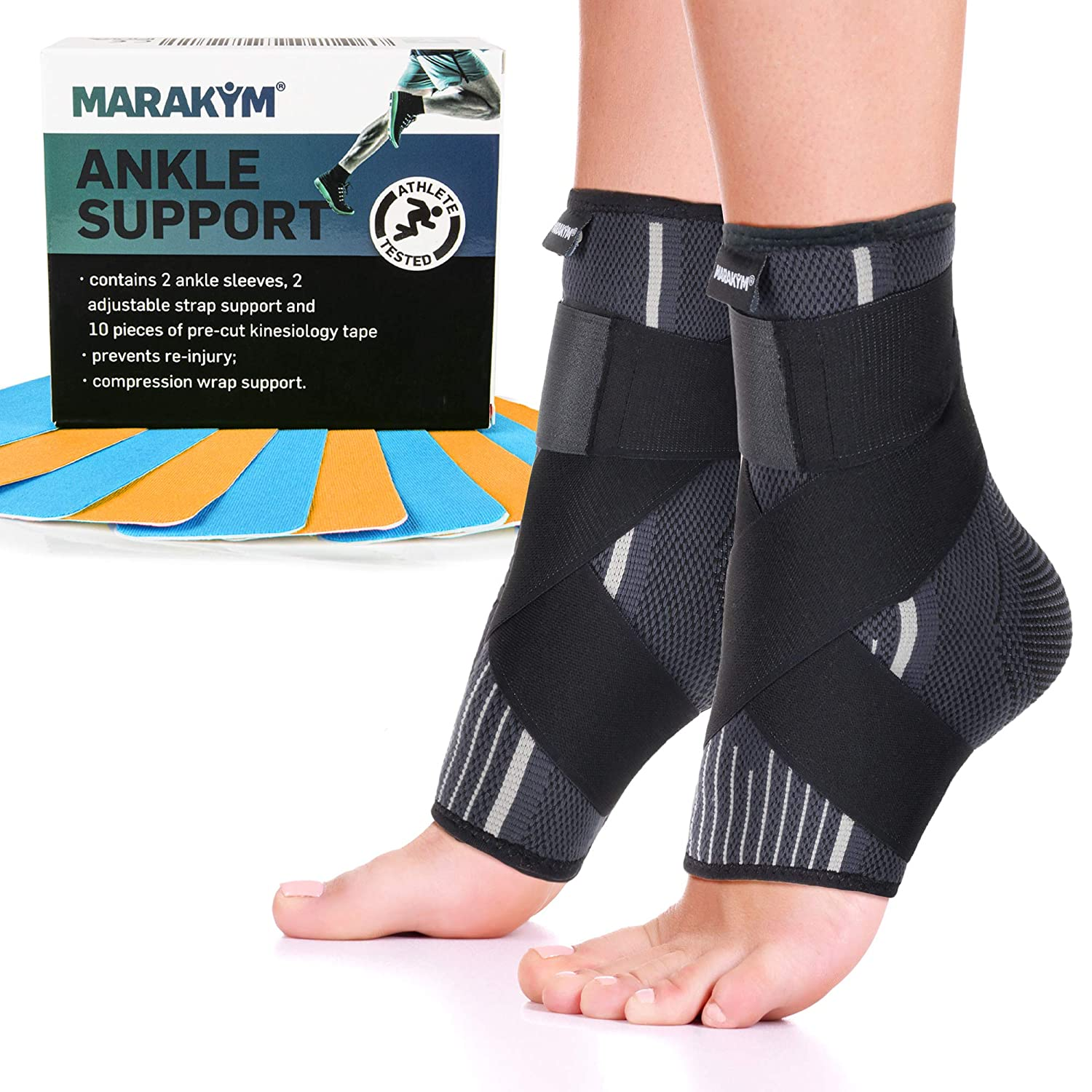 Premium Ankle Compression Socks Men & Women | Best Free Size Medical Ankle Support Pair(2 Pcs) With Compression Wrap Support For Improved Injury Prevention and Recovery - Bonus Kinesiology Tape & Carr: Industrial & Scientific