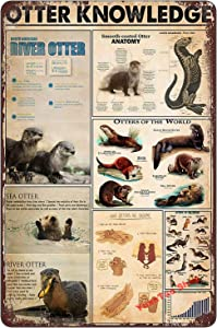 YuanTao Otter Knowledge North American River Otter Anatomy of Otter Funny Tin Sign Bar Pub Diner Cafe Wall Decor Home Decor Art Poster Retro Vintage 8x12 Inches