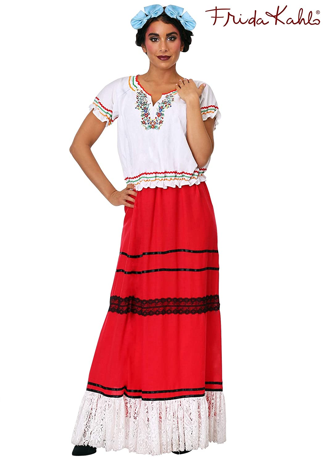 Women's Frida Kahlo Red Skirt & White Embroidered Top Costume Set - DeluxeAdultCostumes.com
