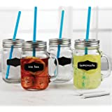 Circleware 69079 Chalkboard Mason Mugs Yorkshire Jar Drinking Glass Handles, Fun Metal Lids and Hard Plastic Blue Straws, Set of 4, 17.5 ounce