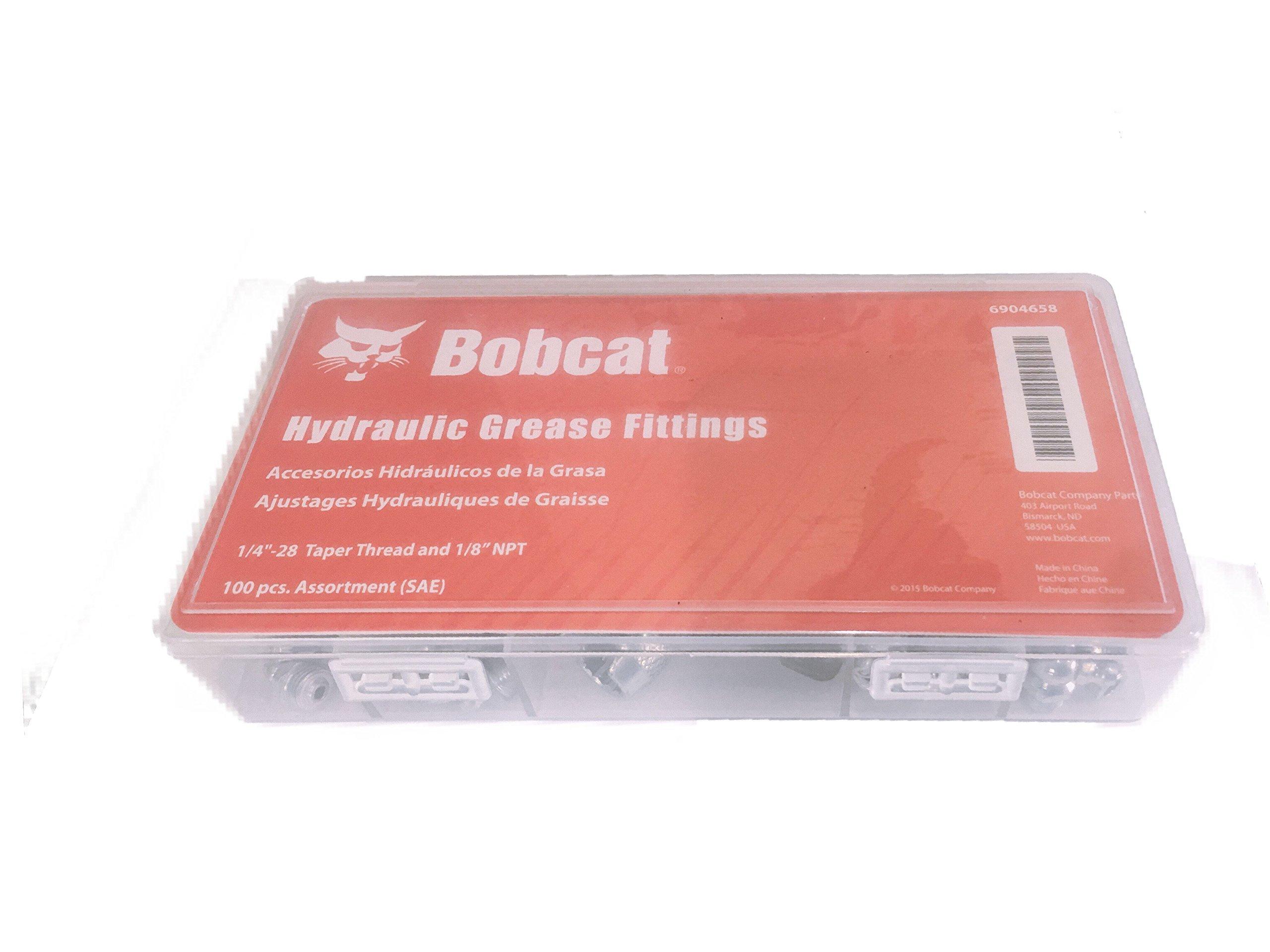 Bobcat ZERK Hydraulic Grease Fitting SAE Standard 100-Piece Kit – Straight, 90-Degree, 45-Degree Angled Assortment Set