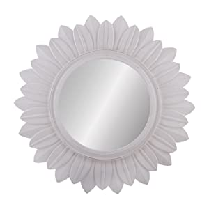 Homesake Sunburst Decorative Wooden Handcarved Wall Mirror, Classic White
