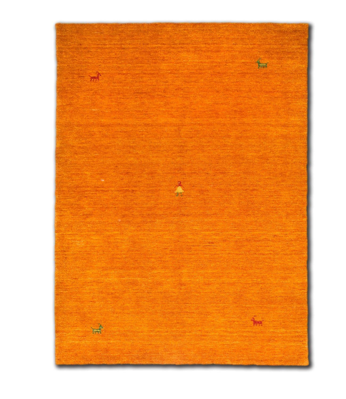 Morgenland Designer Teppich Gabbeh SAHARA 240 x 170 cm Orange Einfarbig Tiermotive Nomaden Teppich Loribaft Optik Handgearbeitet 100% Schurwolle Fusselfrei Weich Gemütlich Für Wohnzimmer Esszimmer Kinderzimmer Flur - In 6 versch. Farben, Viele G