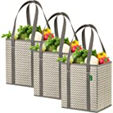 Reusable Grocery Shopping Box Bags (3 Pack - Chevron). Stylish, Premium Quality, Heavy Duty Tote Set with Extra Long Handles & Reinforced Bottom. Foldable, Collapsible, Durable & Eco Friendly