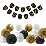 Paxcoo Black and Gold Birthday Party Decorations with Birthday Banner for 30th, 40th, 50th, 60th, 70th, 80th Birthday