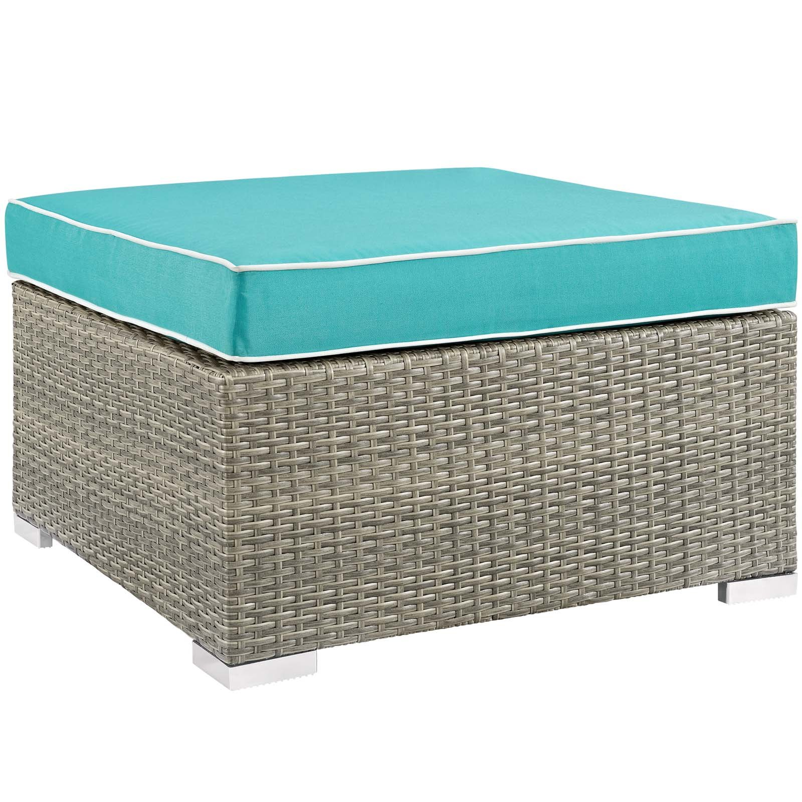 Modway EEI-2962-LGR-TRQ Repose Outdoor Patio Upholstered Fabric, Ottoman, Light Gray Turquoise by Modway